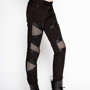 NWT Tripp NYC black fishnet panel skinny jeans